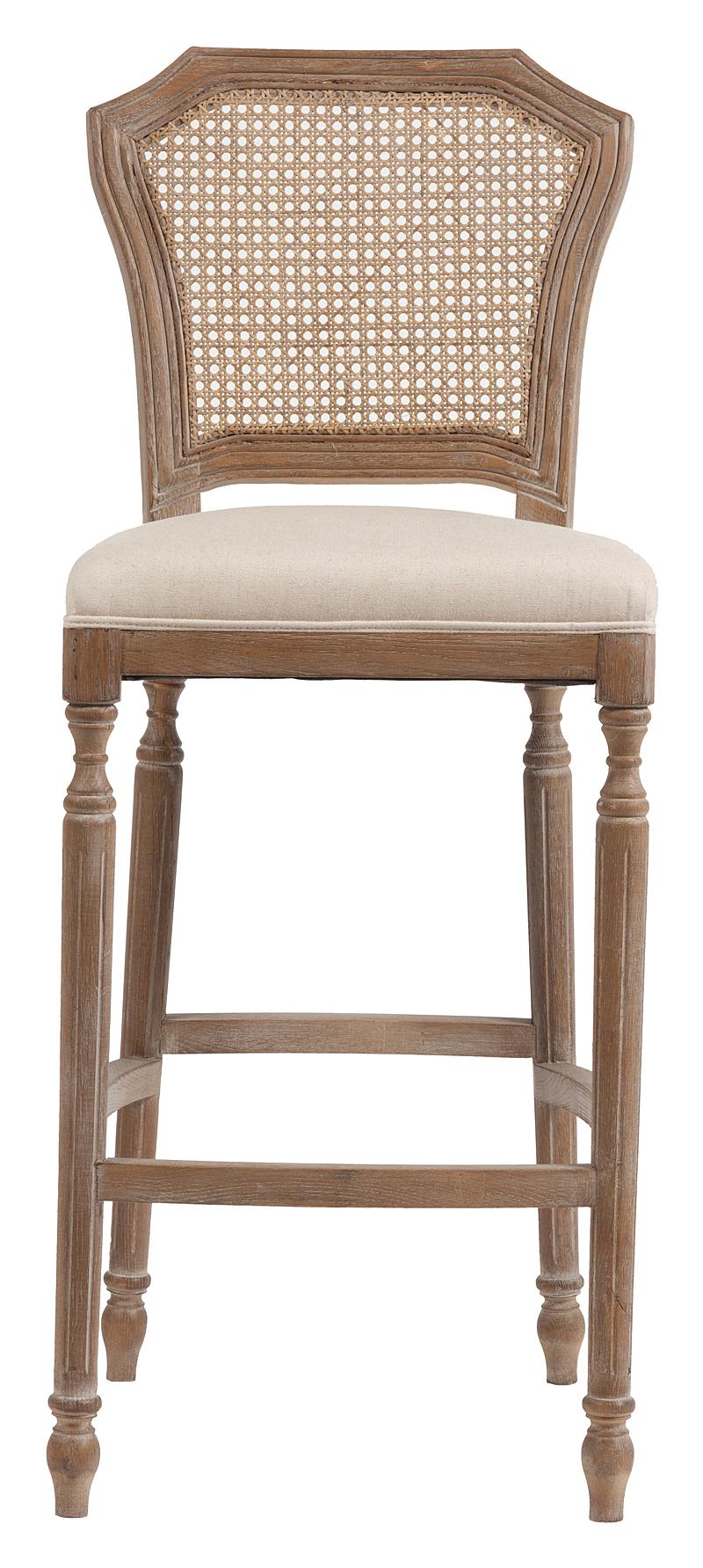 Барный стул Vintage French Nailhead Cane Back Кремовый Лен DG-HOMEСтулья<br>. Бренд - DG-HOME. материал - Ткань, Поролон, Дерево.<br><br>популярные производители: DG-HOME<br>ширина/диаметр: 0<br>материал: Ткань, Поролон, Дерево