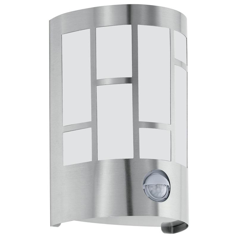 Светильник настенный 94798 EGLOНастенные<br>Уличный светильник настенный CERNO с датчиком движения, 1х40W (E27), H200, IP44, нерж. сталь/сатин. стекло. Бренд - EGLO. материал плафона - стекло. цвет плафона - белый. тип цоколя - E27. тип лампы - накаливания или LED. ширина/диаметр - 135. мощность - 40. количество ламп - 1.<br><br>популярные производители: EGLO<br>материал плафона: стекло<br>цвет плафона: белый<br>тип цоколя: E27<br>тип лампы: накаливания или LED<br>ширина/диаметр: 135<br>максимальная мощность лампочки: 40<br>количество лампочек: 1