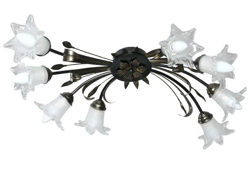Потолочная люстра накладная 10041-8Cнакладные<br>потолочный светильник. Бренд - Аврора. тип лампы - накаливания или LED. количество ламп - 8. тип цоколя - E14. мощность лампы - 60. цвет арматуры - коричневый. цвет плафона - прозрачный. материал арматуры - металл. материал плафона - стекло. высота - 190. ширина/диаметр - 670. степень защиты ip - 20. форма - круг. стиль - флористика. страна происхождения - Россия. коллекция - Ирис. напряжение - 220.<br><br>Бренд: Аврора<br>тип лампы: накаливания или LED<br>количество ламп: 8<br>тип цоколя: E14<br>мощность лампы: 60<br>цвет арматуры: коричневый<br>цвет плафона: прозрачный<br>материал арматуры: металл<br>материал плафона: стекло<br>высота: 190<br>ширина/диаметр: 670<br>степень защиты ip: 20<br>форма: круг<br>стиль: флористика<br>страна происхождения: Россия<br>коллекция: Ирис<br>напряжение: 220