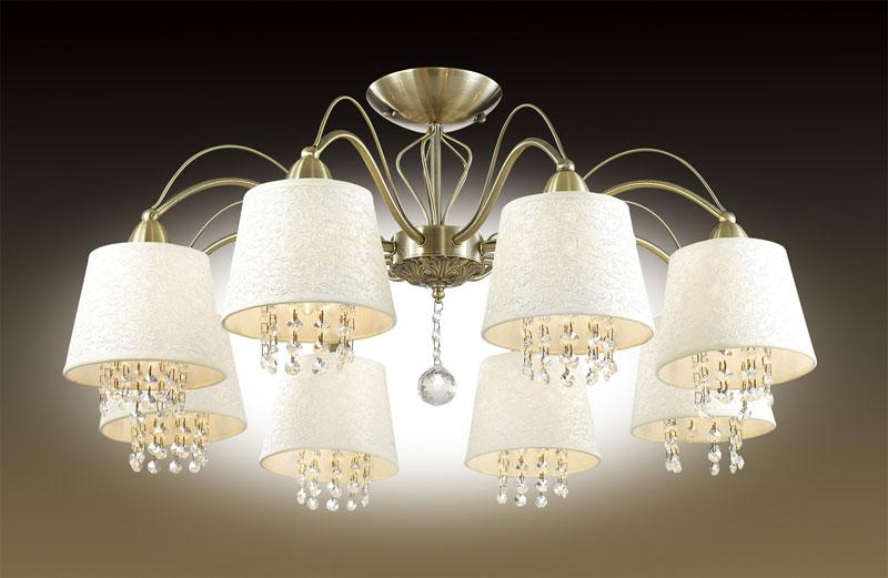 Odeon Light 2916/8C ODL16 063 бронзовый/абажур ткань/подвески хрусталь Люстра потолочная E14 8*40W 220V FONTE