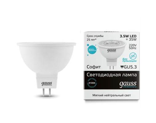 ����� Gauss LED Elementary MR16 GU5.3 3.5W 4100K 1/10/100 ����������