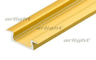 Алюминиевый анодированный, цвет ЗОЛОТО, узкий профиль с фланцем, без экрана, для светодиодной ленты, Arlight