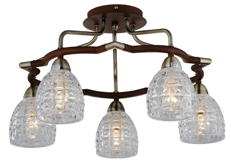 Потолочная люстра накладная 412-05-53ABW antique brass + walnut N-Lightнакладные<br>5*60W, E14, 230V <br>D=540mm<br>H=278mm. Бренд - N-Light. материал плафона - стекло. цвет плафона - прозрачный. тип цоколя - E14. тип лампы - накаливания или LED. ширина/диаметр - 540. мощность - 60. количество ламп - 5.<br><br>популярные производители: N-Light<br>материал плафона: стекло<br>цвет плафона: прозрачный<br>тип цоколя: E14<br>тип лампы: накаливания или LED<br>ширина/диаметр: 540<br>максимальная мощность лампочки: 60<br>количество лампочек: 5