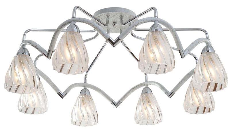 Потолочная люстра накладная 407-08-13CWC chrome + white crack N-Lightнакладные<br>8*60W, E14, 230V <br>D=750mm<br>H=300mm. Бренд - N-Light. материал плафона - стекло. цвет плафона - прозрачный. тип цоколя - E14. тип лампы - накаливания или LED. ширина/диаметр - 750. мощность - 60. количество ламп - 8.<br><br>популярные производители: N-Light<br>материал плафона: стекло<br>цвет плафона: прозрачный<br>тип цоколя: E14<br>тип лампы: накаливания или LED<br>ширина/диаметр: 750<br>максимальная мощность лампочки: 60<br>количество лампочек: 8