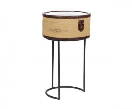 Придиванный круглый столик Molto Bene Grande DG-HOMEСтолики<br>. Бренд - DG-HOME. материал - металлический каркас, МДФ, джут, зеркало.<br><br>популярные производители: DG-HOME<br>ширина/диаметр: 0<br>материал: металлический каркас, МДФ, джут, зеркало
