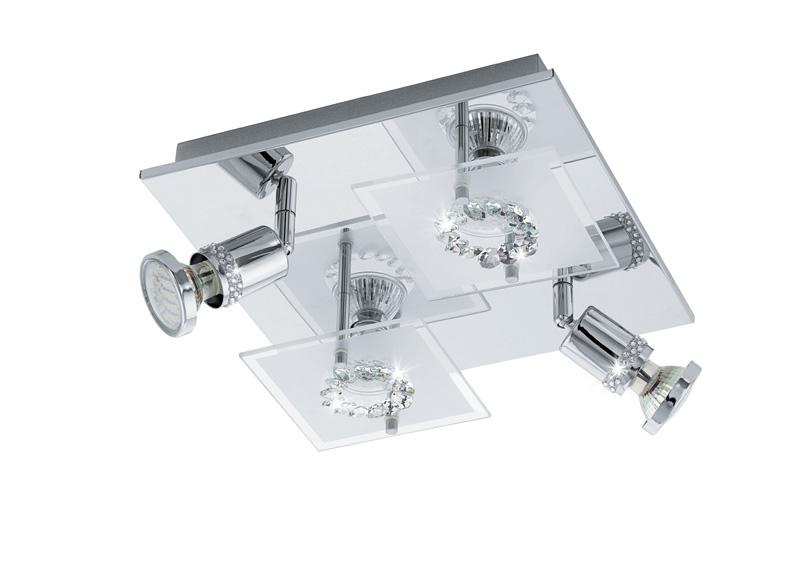 спот 94529 EGLOСпоты<br>Светодиодный светильник наст.-потол. BALERNA, 4x3W (GU10), 270x270, сталь, хром/сатиновое стекло, хрусталь. Бренд - EGLO. тип лампы - LED. ширина/диаметр - 270. мощность - 3. количество ламп - 4.<br><br>популярные производители: EGLO<br>тип лампы: LED<br>ширина/диаметр: 270<br>максимальная мощность лампочки: 3<br>количество лампочек: 4