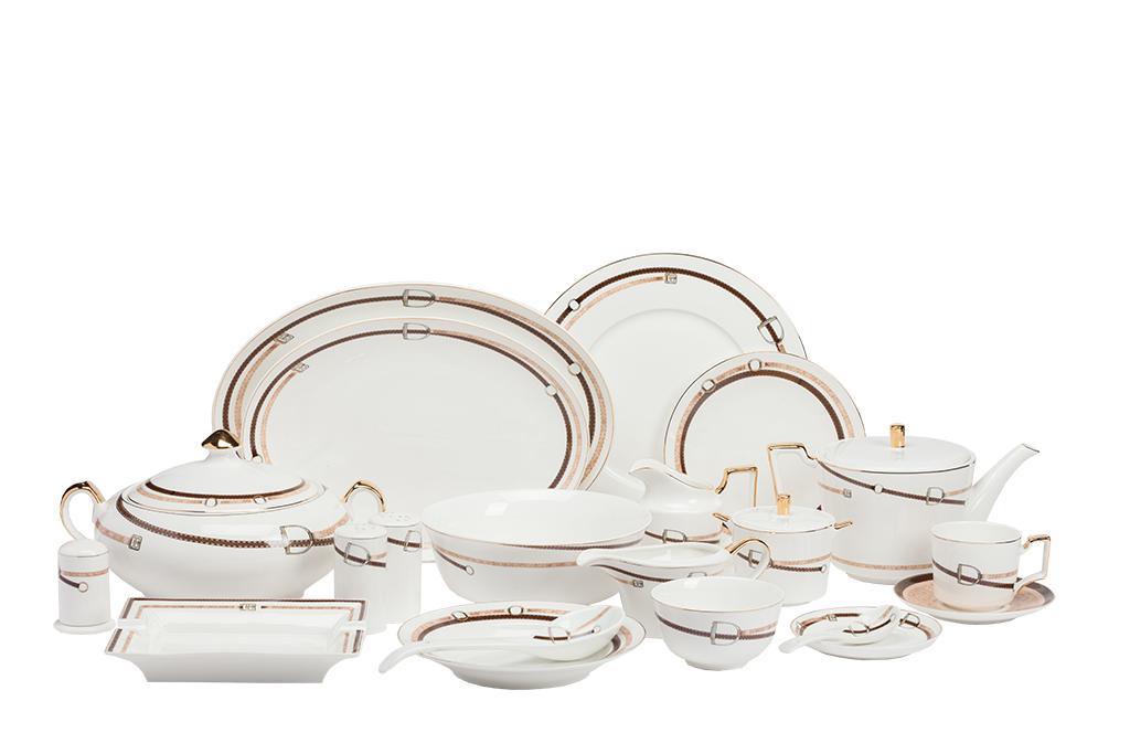 Столовый сервиз Loccita DG-HOMEСервизы и наборы посуды<br>. Бренд - DG-HOME. ширина/диаметр - 620. материал - Костяной фарфор. цвет - Белый, Коричневый, Золото.<br><br>популярные производители: DG-HOME<br>ширина/диаметр: 620<br>материал: Костяной фарфор<br>цвет: Белый, Коричневый, Золото