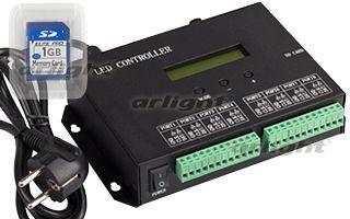 контроллер 018032 Arlightконтроллеры<br>Контроллер для упр-я RGB флэш-модулями для воспроизв-я текста, рисунков (DMX не поддерживает). Запись на SD-карту с помощью ПО LEDBuild. 8 вых. портов, максимально до 8192 pixel. Питание 220В. Размеры 145x140x54 мм.. Бренд - Arlight. ширина/диаметр - 140.<br><br>популярные производители: Arlight<br>ширина/диаметр: 140