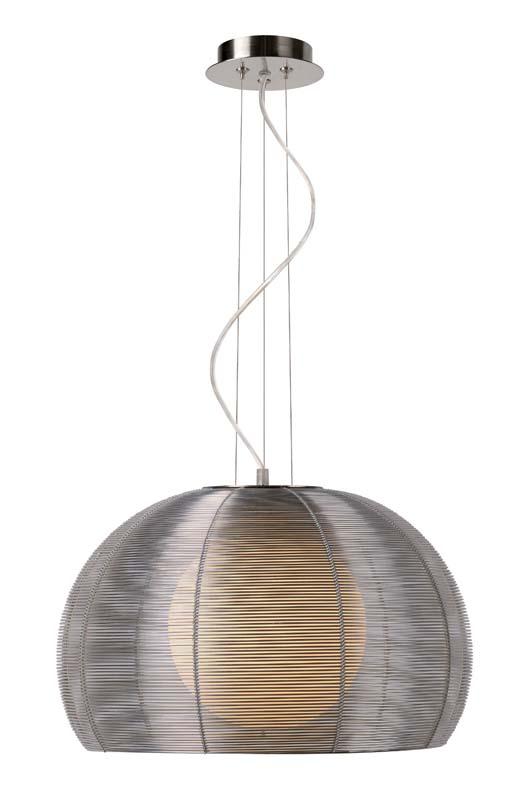 Подвесной  потолочный светильник 38400/40/12 LUCIDEподвесные<br>NEWPORT Pendant 1xE27 D40 H120cm Silver. Бренд - LUCIDE. материал плафона - алюминий. цвет плафона - серый. тип цоколя - E27. тип лампы - накаливания или LED. ширина/диаметр - 400. мощность - 60. количество ламп - 1.<br><br>популярные производители: LUCIDE<br>материал плафона: алюминий<br>цвет плафона: серый<br>тип цоколя: E27<br>тип лампы: накаливания или LED<br>ширина/диаметр: 400<br>максимальная мощность лампочки: 60<br>количество лампочек: 1