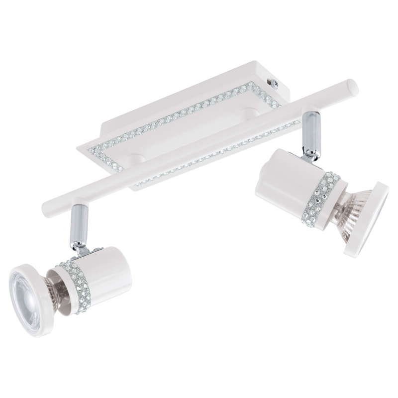 спот 94283 EGLOСпоты<br>Светодиодный спот BONARES, 2x3,3W(GU10),  белый, кристаллы. Бренд - EGLO. тип цоколя - GU10. тип лампы - галогеновая или LED. ширина/диаметр - 70. мощность - 3.3. количество ламп - 2.<br><br>популярные производители: EGLO<br>тип цоколя: GU10<br>тип лампы: галогеновая или LED<br>ширина/диаметр: 70<br>максимальная мощность лампочки: 3.3<br>количество лампочек: 2