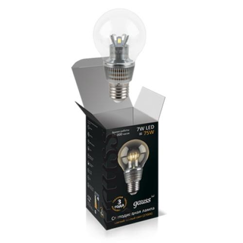 Лампа 3W E27 2700K Gauss светодиодный шар для хрустальных люстр (прозрачный)