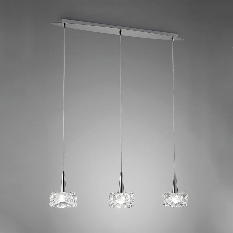 Подвесной  потолочный светильник 3921 Mantraподвесные<br>PENDANT LAMP 3L LINE. Бренд - Mantra. материал плафона - стекло. цвет плафона - прозрачный. тип цоколя - G9. тип лампы - галогеновая или LED. ширина/диаметр - 120. мощность - 33. количество ламп - 3.<br><br>популярные производители: Mantra<br>материал плафона: стекло<br>цвет плафона: прозрачный<br>тип цоколя: G9<br>тип лампы: галогеновая или LED<br>ширина/диаметр: 120<br>максимальная мощность лампочки: 33<br>количество лампочек: 3