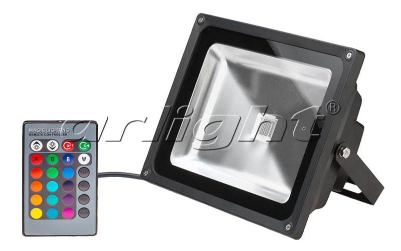 Arlight Светодиодный прожектор BR-FL-60W-RGB IR24B (Black, AC220V)