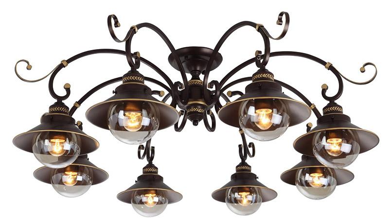 Потолочная люстра накладная A4577PL-8CKнакладные<br>A4577PL-8CK. Бренд - ARTE Lamp. тип лампы - накаливания или LED. количество ламп - 8. тип цоколя - E27. мощность лампы - 60. цвет арматуры - коричневый. цвет плафона - коричневый. материал арматуры - металл. материал плафона - металл. высота - 370. ширина/диаметр - 1000. длина - 1000. степень защиты ip - 20. форма - круг. стиль - кантри. страна происхождения - Италия. коллекция - 4577. напряжение - 220.<br><br>Бренд: ARTE Lamp<br>тип лампы: накаливания или LED<br>количество ламп: 8<br>тип цоколя: E27<br>мощность лампы: 60<br>цвет арматуры: коричневый<br>цвет плафона: коричневый<br>материал арматуры: металл<br>материал плафона: металл<br>высота: 370<br>ширина/диаметр: 1000<br>длина: 1000<br>степень защиты ip: 20<br>форма: круг<br>стиль: кантри<br>страна происхождения: Италия<br>коллекция: 4577<br>напряжение: 220