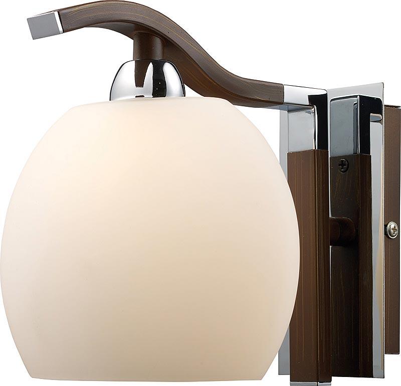 Бра 413-01-11 chrome + wengue N-LightНастенные и бра<br>1*40W, G9, 230V <br>H=180mm<br>W=160mm<br>Ext=180mm. Бренд - N-Light. материал плафона - стекло. цвет плафона - белый. тип цоколя - G9. тип лампы - галогеновая или LED. ширина/диаметр - 160. мощность - 40. количество ламп - 1.<br><br>популярные производители: N-Light<br>материал плафона: стекло<br>цвет плафона: белый<br>тип цоколя: G9<br>тип лампы: галогеновая или LED<br>ширина/диаметр: 160<br>максимальная мощность лампочки: 40<br>количество лампочек: 1