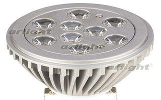 Светодиодная лампа MDS-AR111-9x1W 35deg White 12V Arlightсветодиодные<br>Лампа AR111, цоколь G53, на мощных светодиодах 9х1Вт. Цвет БЕЛЫЙ. Питание DC 12V. Мощность 10Вт. Св.поток 800-850 лм. Размеры H=61мм, D=110мм. Срок службы 30,000ч. Гарантия 1 год.. Бренд - Arlight. тип цоколя - G53. тип лампы - LED. ширина/диаметр - 110. мощность - 10.<br><br>популярные производители: Arlight<br>тип цоколя: G53<br>тип лампы: LED<br>ширина/диаметр: 110<br>максимальная мощность лампочки: 10