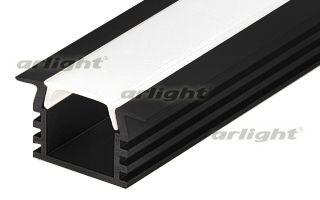 Алюминиевый анодированный чёрный профиль с фланцем, без экрана (отдельно), для светодиодной ленты, л Arlight