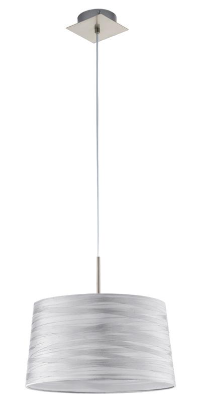 Подвесной  потолочный светильник 94307 EGLOподвесные<br>Подвес FONSEA, 1х60W (E27), ?375, никель/текстиль серебристый. Бренд - EGLO. материал плафона - ткань. цвет плафона - серый. тип цоколя - E27. тип лампы - накаливания или LED. ширина/диаметр - 375. мощность - 60. количество ламп - 1.<br><br>популярные производители: EGLO<br>материал плафона: ткань<br>цвет плафона: серый<br>тип цоколя: E27<br>тип лампы: накаливания или LED<br>ширина/диаметр: 375<br>максимальная мощность лампочки: 60<br>количество лампочек: 1