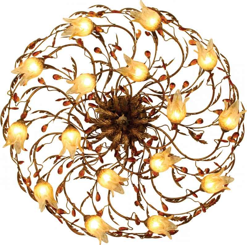 Потолочная люстра накладная 90327/16CAнакладные<br>90327/16CA. Бренд - N-Light. тип лампы - галогеновая или LED. количество ламп - 16. тип цоколя - G9. мощность лампы - 40. цвет арматуры - бронзовый. цвет плафона - желтый. материал арматуры - металл. материал плафона - стекло. высота - 265. ширина/диаметр - 950. степень защиты ip - 20. форма - круг. стиль - флористика. страна происхождения - Италия. напряжение - 220. особенности - Дизайнерская люстра накладная.<br><br>Бренд: N-Light<br>тип лампы: галогеновая или LED<br>количество ламп: 16<br>тип цоколя: G9<br>мощность лампы: 40<br>цвет арматуры: бронзовый<br>цвет плафона: желтый<br>материал арматуры: металл<br>материал плафона: стекло<br>высота: 265<br>ширина/диаметр: 950<br>степень защиты ip: 20<br>форма: круг<br>стиль: флористика<br>страна происхождения: Италия<br>напряжение: 220<br>особенности: Дизайнерская люстра накладная