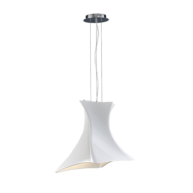 Подвесной  потолочный светильник 5070подвесные<br>PENDANT 1L WHITE. Бренд - Mantra. тип лампы - накаливания или LED. количество ламп - 1. тип цоколя - E27. мощность - 23. цвет арматуры - хром. цвет плафона - белый. материал арматуры - металл. материал плафона - пластик. высота - 1500. ширина/диаметр - 480. длина - 480. степень защиты ip - 20. форма - другое. стиль - модерн. страна происхождения - Испания. коллекция - Twist. напряжение - 220.<br><br>Бренд: Mantra<br>тип лампы: накаливания или LED<br>количество ламп: 1<br>тип цоколя: E27<br>мощность: 23<br>цвет арматуры: хром<br>цвет плафона: белый<br>материал арматуры: металл<br>материал плафона: пластик<br>высота: 1500<br>ширина/диаметр: 480<br>длина: 480<br>степень защиты ip: 20<br>форма: другое<br>стиль: модерн<br>страна происхождения: Испания<br>коллекция: Twist<br>напряжение: 220