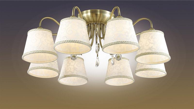 Odeon Light 2915/8C ODL16 045 бронзовый/абажур ткань/подвески хрусталь Люстра потолочная E14 8*40W 220V SOLERA