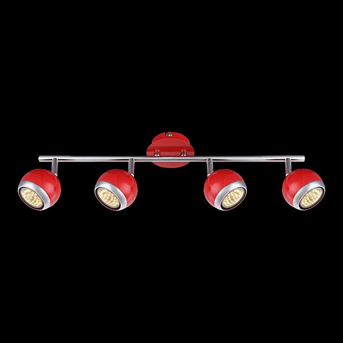 спот 57885-4 GloboСпоты<br>57885-4. Бренд - Globo. материал плафона - металл. цвет плафона - красный. тип цоколя - GU10. тип лампы - галогеновая или LED. ширина/диаметр - 550. мощность - 3. количество ламп - 4.<br><br>популярные производители: Globo<br>материал плафона: металл<br>цвет плафона: красный<br>тип цоколя: GU10<br>тип лампы: галогеновая или LED<br>ширина/диаметр: 550<br>максимальная мощность лампочки: 3<br>количество лампочек: 4