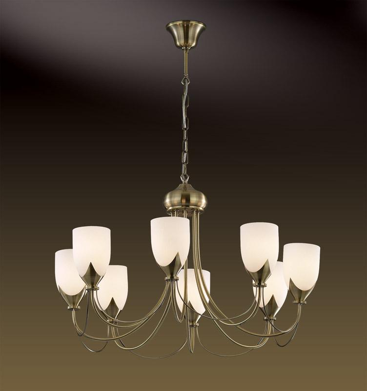 Потолочная люстра подвесная 2079/8 Odeon Lightподвесные<br>2079/8 ODL11 094 бронза Люстра  E14 8*60W 220V RISTO. Бренд - Odeon Light. материал плафона - стекло. цвет плафона - белый. тип цоколя - E14. тип лампы - галогеновая или LED. ширина/диаметр - 690. мощность - 60. количество ламп - 8.<br><br>популярные производители: Odeon Light<br>материал плафона: стекло<br>цвет плафона: белый<br>тип цоколя: E14<br>тип лампы: галогеновая или LED<br>ширина/диаметр: 690<br>максимальная мощность лампочки: 60<br>количество лампочек: 8