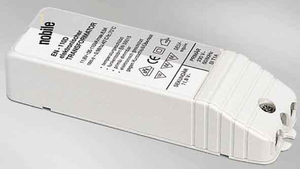 Трансформатор  6991407200блоки питания AC<br>ТРАНСФОРМАТОР EN 110 D . Бренд - Nobile. мощность лампы - 110. цвет арматуры - белый. материал арматуры - пластик. страна происхождения - Германия. напряжение - 12.<br><br>Бренд: Nobile<br>мощность лампы: 110<br>цвет арматуры: белый<br>материал арматуры: пластик<br>страна происхождения: Германия<br>напряжение: 12