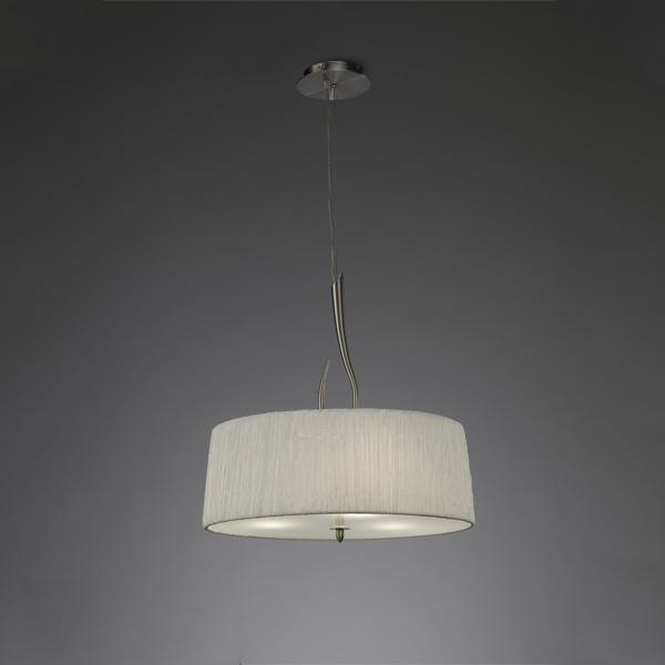 Подвесной  потолочный светильник 3704 Mantraподвесные<br>PENDANT 3 LIGHTS . Бренд - Mantra. материал плафона - ткань. цвет плафона - белый. тип цоколя - E27. тип лампы - КЛЛ. ширина/диаметр - 500. мощность - 13. количество ламп - 3.<br><br>популярные производители: Mantra<br>материал плафона: ткань<br>цвет плафона: белый<br>тип цоколя: E27<br>тип лампы: КЛЛ<br>ширина/диаметр: 500<br>максимальная мощность лампочки: 13<br>количество лампочек: 3