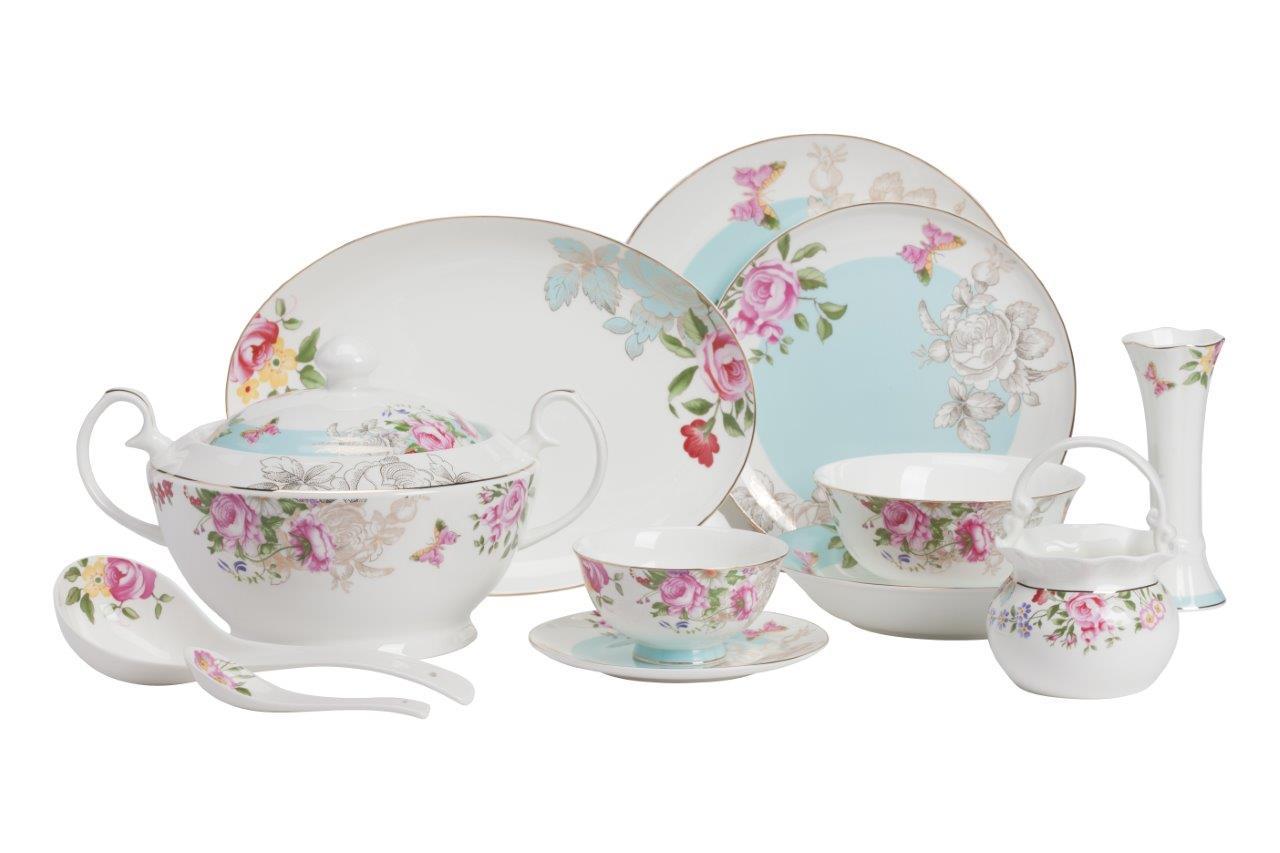 Столовый сервиз Abuela DG-HOMEСервизы и наборы посуды<br>. Бренд - DG-HOME. ширина/диаметр - 520. материал - Костяной фарфор. цвет - белый, голубой, розовый.<br><br>популярные производители: DG-HOME<br>ширина/диаметр: 520<br>материал: Костяной фарфор<br>цвет: белый, голубой, розовый