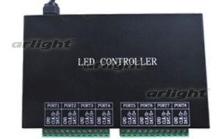 контроллер 018549 Arlightконтроллеры<br>Контроллер для упр-я RGB флэш-модулями для воспроизв-я текста, рисунков, видео. Упр-е с помощью ПО LEDStudio через Ethernet-port. 8 вых. портов, max 8192 pix. Питание 220В. Размеры 163x155x54 мм.. Бренд - Arlight. ширина/диаметр - 155.<br><br>популярные производители: Arlight<br>ширина/диаметр: 155