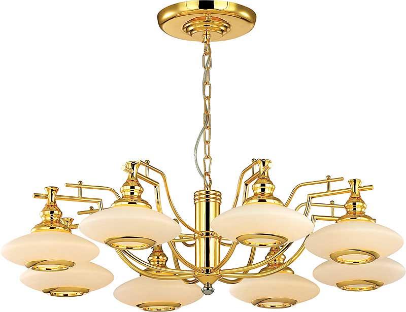 Потолочная люстра подвесная 164-08-32 gold N-Lightподвесные<br>8*40W, E14, 230V <br>D=840mm<br>H=570mm<br>(18K Gold Plating). Бренд - N-Light. материал плафона - стекло. цвет плафона - белый. тип цоколя - E14. тип лампы - накаливания или LED. ширина/диаметр - 840. мощность - 40. количество ламп - 8.<br><br>популярные производители: N-Light<br>материал плафона: стекло<br>цвет плафона: белый<br>тип цоколя: E14<br>тип лампы: накаливания или LED<br>ширина/диаметр: 840<br>максимальная мощность лампочки: 40<br>количество лампочек: 8