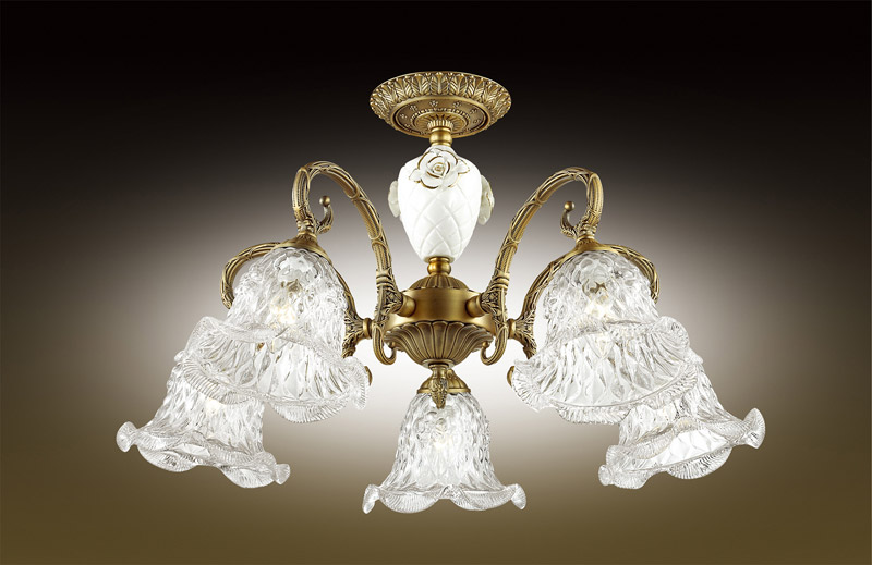 Odeon Light 2884/5C ODL16 009 бронзовый/стекло/декор керамика роза Люстра потолочная E14 5*60W 220V VICTORI