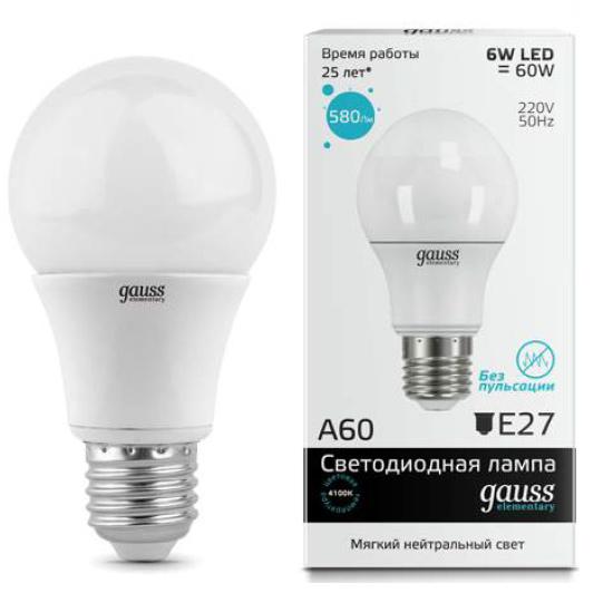 Лампа Gauss LED Elementary A60 E27 6W 4100K 1/40светодиодные<br>Лампа Gauss LED Elementary A60 E27 6W 4100K 1/40. Бренд - Gauss. тип лампы - LED. тип цоколя - E27. мощность лампы - 6. высота - 110. ширина/диаметр - 60. страна происхождения - Китай. цвет свечения - белый (дневной). коллекция - Лампа Общего Назначения. напряжение - 220.<br><br>Бренд: Gauss<br>тип лампы: LED<br>тип цоколя: E27<br>мощность лампы: 6<br>высота: 110<br>ширина/диаметр: 60<br>страна происхождения: Китай<br>цвет свечения: белый (дневной)<br>коллекция: Лампа Общего Назначения<br>напряжение: 220