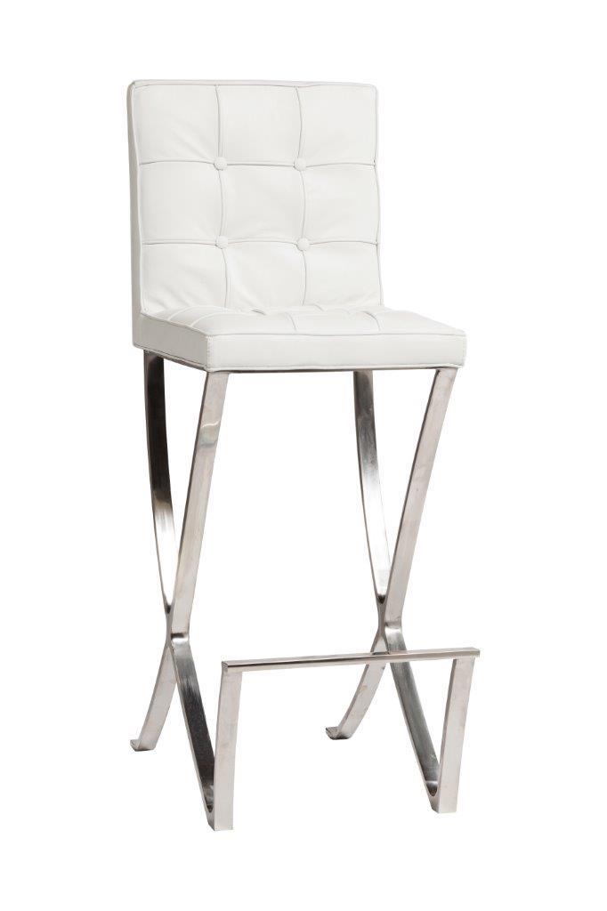 Стул Barcelona Dining Chair Белая Натуральная Кожа DG-HOMEСтулья<br>. Бренд - DG-HOME. ширина/диаметр - 6. материал - Кожа, Поролон, Металл.<br><br>популярные производители: DG-HOME<br>ширина/диаметр: 6<br>материал: Кожа, Поролон, Металл