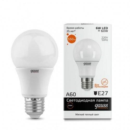 Лампа Gauss LED Elementary A60 E27 6W 2700K 1/40