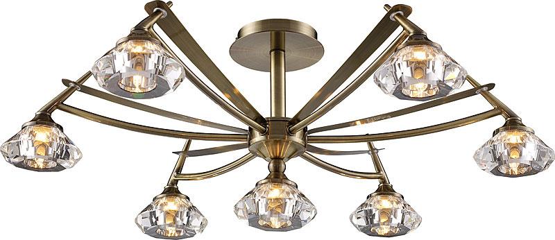 Потолочная люстра на штанге 907-07-53 antique brass N-Lightна штанге<br>7*40W, G9, 230V D=680mm H=250mm (Optical Crystal). Бренд - N-Light. материал плафона - стекло. цвет плафона - прозрачный. тип цоколя - G9. тип лампы - галогеновая или LED. ширина/диаметр - 680. мощность - 40. количество ламп - 7.<br><br>популярные производители: N-Light<br>материал плафона: стекло<br>цвет плафона: прозрачный<br>тип цоколя: G9<br>тип лампы: галогеновая или LED<br>ширина/диаметр: 680<br>максимальная мощность лампочки: 40<br>количество лампочек: 7