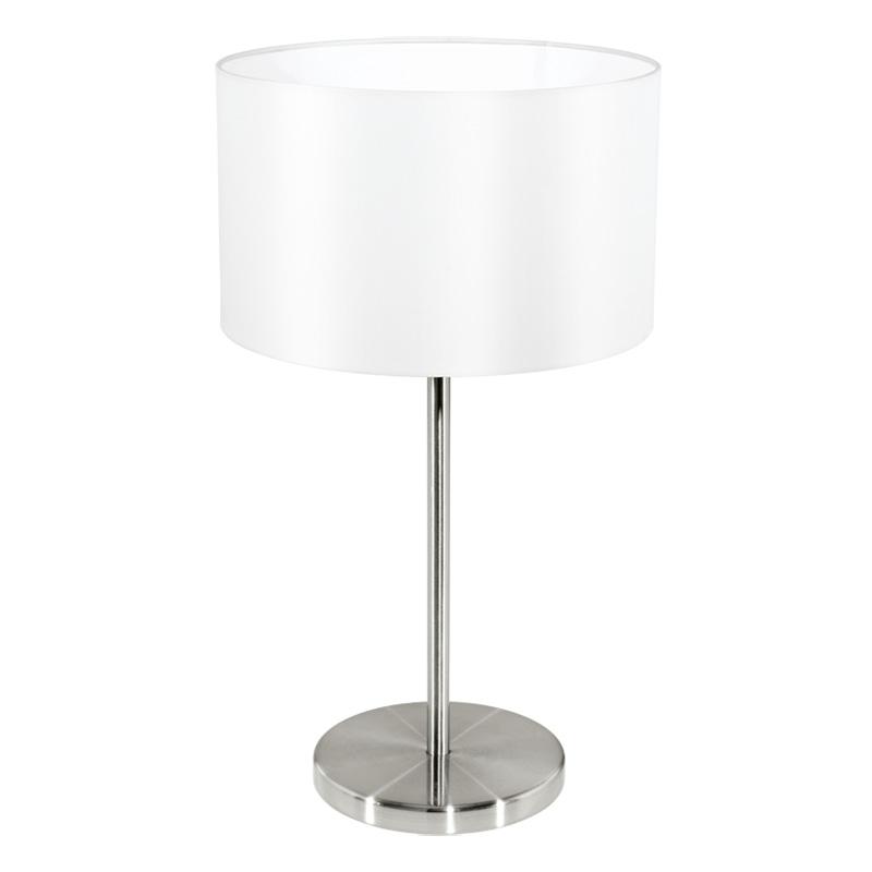 Настольная лампа 31626 EGLOНастольные лампы<br>Настольная лампа MASERLO, 1х60W (E27), ?230, H420, никель матовый/текстиль, белый. Бренд - EGLO. материал плафона - ткань. цвет плафона - белый. тип цоколя - E27. тип лампы - накаливания или LED. ширина/диаметр - 230. мощность - 60. количество ламп - 1.<br><br>популярные производители: EGLO<br>материал плафона: ткань<br>цвет плафона: белый<br>тип цоколя: E27<br>тип лампы: накаливания или LED<br>ширина/диаметр: 230<br>максимальная мощность лампочки: 60<br>количество лампочек: 1