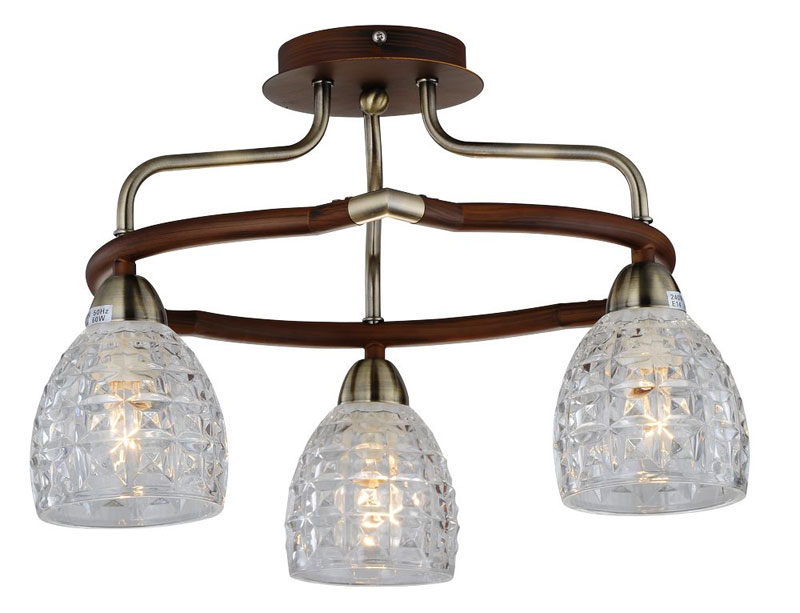 Потолочная люстра накладная 412-03-53ABW antique brass + walnut N-Lightнакладные<br>3*60W, E14, 230V <br>D=450mm<br>H=260mm. Бренд - N-Light. материал плафона - стекло. цвет плафона - прозрачный. тип цоколя - E14. тип лампы - накаливания или LED. ширина/диаметр - 450. мощность - 60. количество ламп - 3.<br><br>популярные производители: N-Light<br>материал плафона: стекло<br>цвет плафона: прозрачный<br>тип цоколя: E14<br>тип лампы: накаливания или LED<br>ширина/диаметр: 450<br>максимальная мощность лампочки: 60<br>количество лампочек: 3