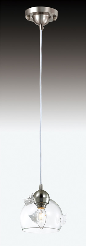Подвесной  потолочный светильник 2764/1  Odeon Lightподвесные<br>2764/1 ODL15 673 никель/ декор.стекло бел Подвес E14 40W 220V MELETA. Бренд - Odeon Light. материал плафона - стекло. цвет плафона - прозрачный. тип цоколя - E14. тип лампы - накаливания или LED. ширина/диаметр - 150. мощность - 40. количество ламп - 1.<br><br>популярные производители: Odeon Light<br>материал плафона: стекло<br>цвет плафона: прозрачный<br>тип цоколя: E14<br>тип лампы: накаливания или LED<br>ширина/диаметр: 150<br>максимальная мощность лампочки: 40<br>количество лампочек: 1